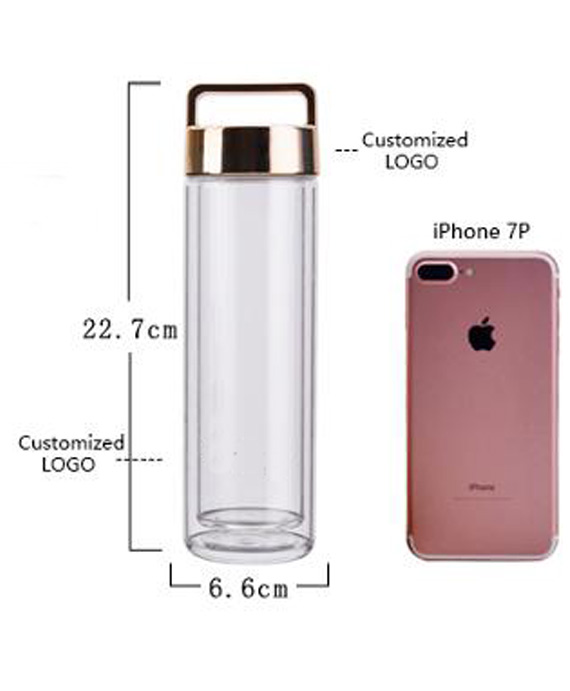 doppelwandige Glasflasche mit Veredelung